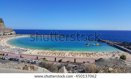 Playa de Amadores beach near Puerto Rico town. Gran Canaria, Canary Islands. Spain