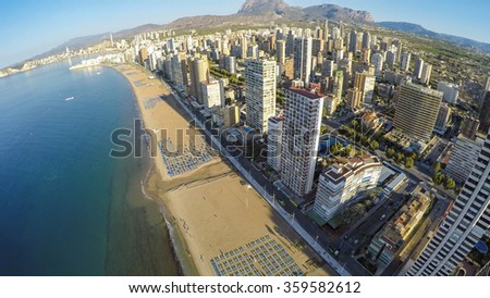 Playa de Levante - East beach . Benidorm - Spain.