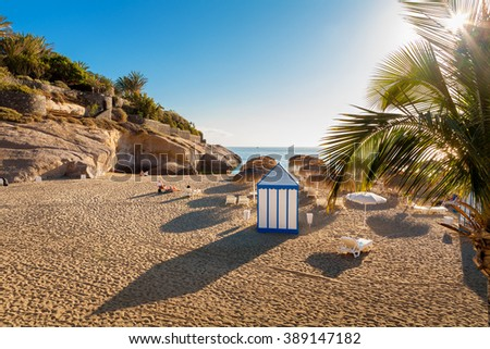 Playa del Duque beach. Costa Adeje, Tenerife, Canary Islands, Spain - stock photo