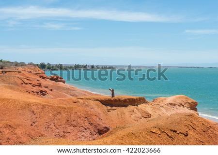 Playa El Amor (Love Beach) shoreline, at Cubagua Island, in the Caribbean Sea - stock photo