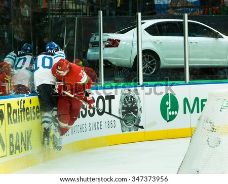 Player Team Belarus during 2014 IIHF World Ice Hockey Championship match at Minsk Arena on May 17, 2014 in Minsk, Belarus. - stock photo