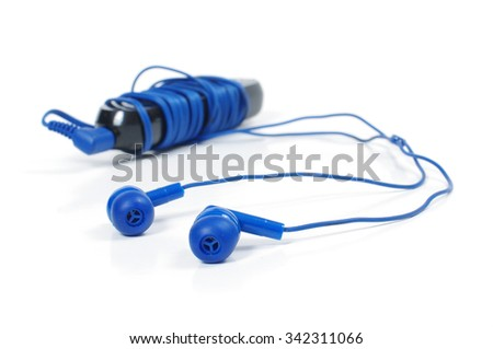 Player with earbuds type headphones isolated on the white background