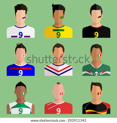 Players from different countries in a modern flat design - stock photo