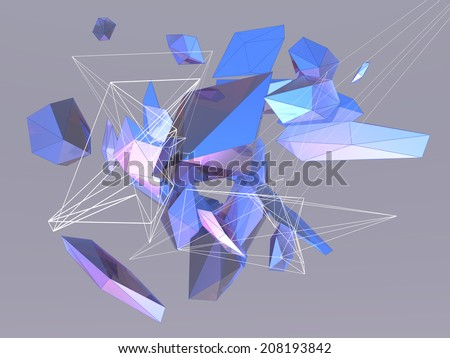 Playful Abstract Geometric Polygon Shapes - stock photo