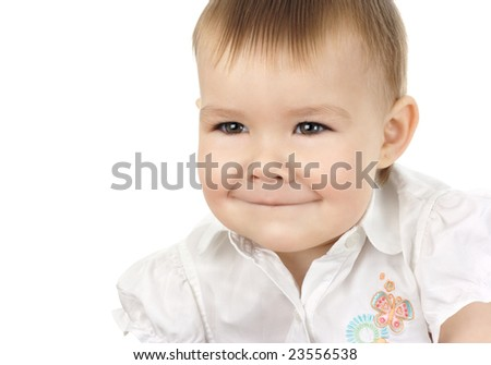 Playful child, excited. Isolated over white.