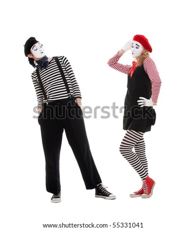 playful couple of mimes. isolated on white background - stock photo