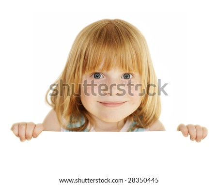 playful redhead 4 years girl holding empty blank board with space for text, isolated on white - stock photo