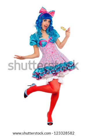 Playful young woman with blue hair. Isolated