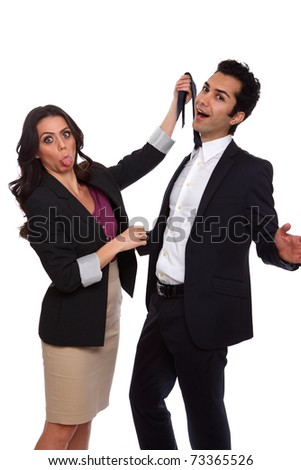 Playfull business people at the studio - stock photo