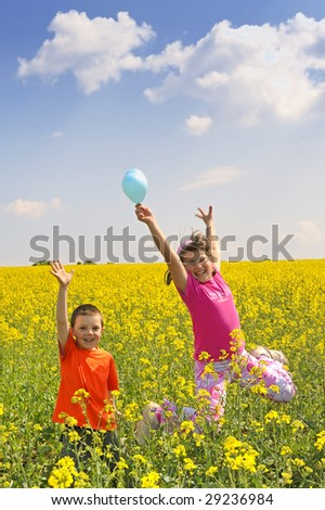 playfulness kids on field