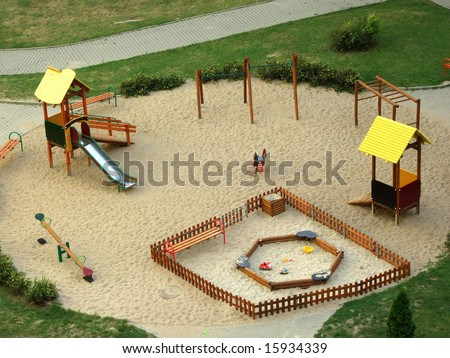 playground for kids on the sand - stock photo