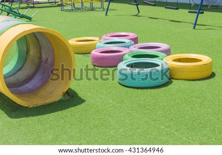 Playground in public park , Colorful playground for children  - stock photo
