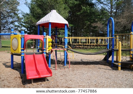 Playground Jungle Gym Park Equipment in Residential Suburban Long Island New York - stock photo