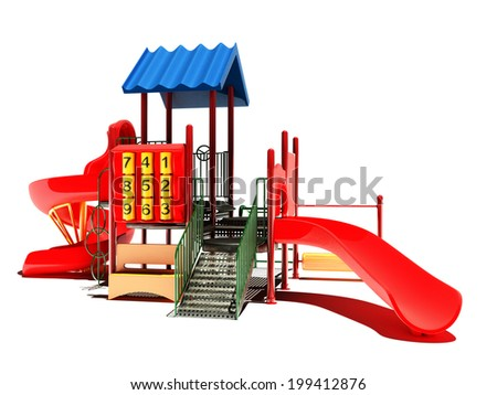 Playground on a white background. - stock photo