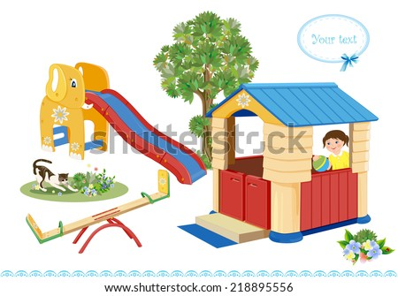 Playground. Seesaw, slider and house. - stock photo