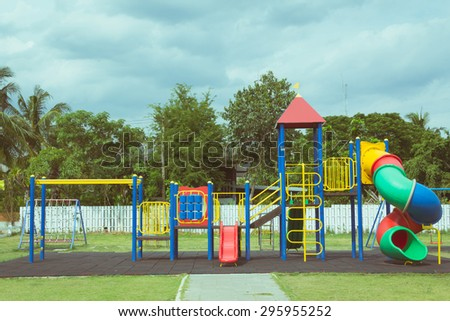 playground toy set in retro film style - stock photo
