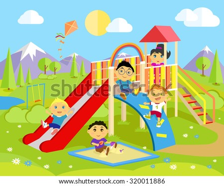 Playground with slide and children. Park play kid, outdoor childhood, equipment and ladder, happiness and recreational, nature and leisure, recreation and summer illustration. Raster version