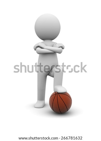 playing basketball/A 3d people playing basketball. 3d image. Isolated white background - stock photo