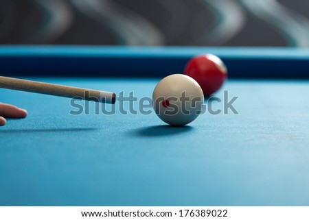 Playing Billiard - Person Playing Billiards Lined Up To Shoot Easy Winning Shot