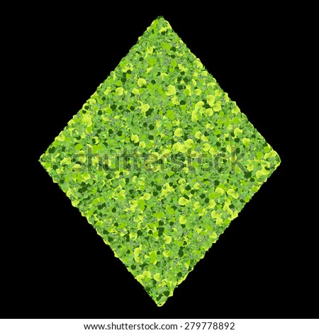 Playing card eco icon diamond, made from green leaves isolated on black background. 3D render. - stock photo