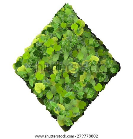 Playing card eco icon diamond, made from green leaves isolated on white background. 3D render. - stock photo