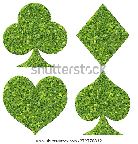Playing card eco icon, made from green leaves isolated on white background. 3D render. - stock photo