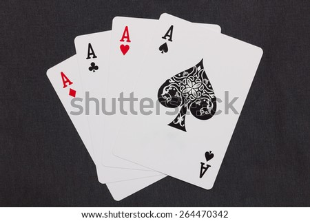 playing card, four aces - stock photo