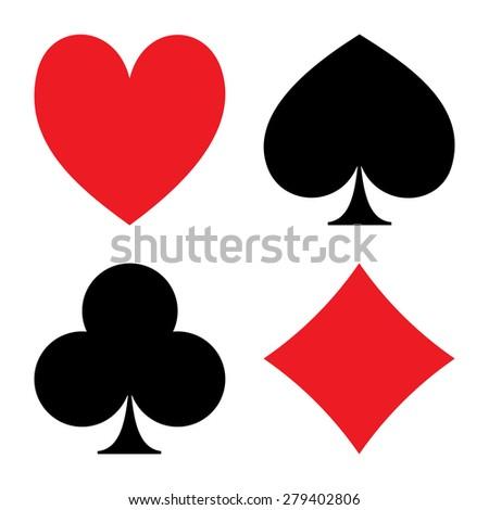 Playing Card Suit Icon Symbol Set - stock photo