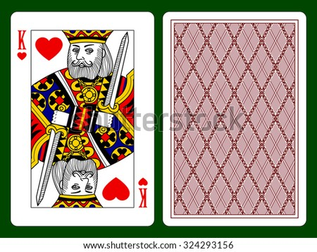 Playing card with a King of hearts and backside background - stock photo