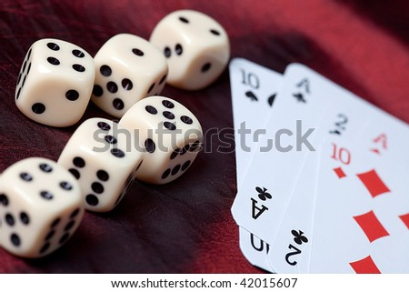playing cards and dice. photo shot of gambling - stock photo