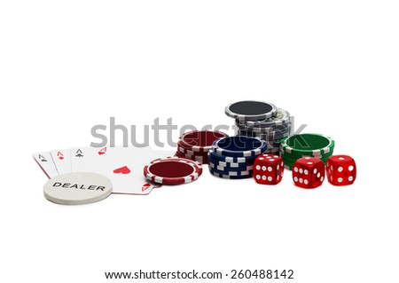 Playing cards and gambling chips - stock photo