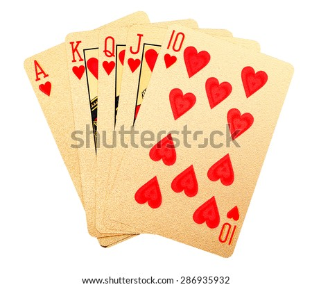 Playing cards brushed in 24 carat gold.  Royal flush.  With clipping path. - stock photo