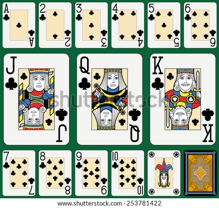 Playing cards, clubs suite, joker and back. Faces double sized. Green background. - stock photo