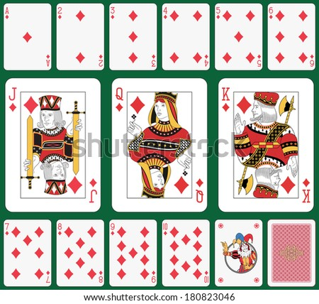 Playing cards diamond suit, joker and back. Faces double sized. Green background in a separate level in vector file - stock photo