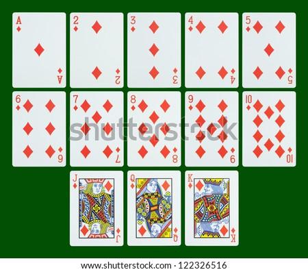Playing cards - diamonds - stock photo
