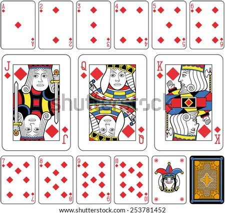 Playing cards, diamonds suite, joker and back. Faces double sized. Green background. - stock photo