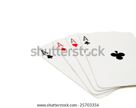 playing cards, four aces isolated on white