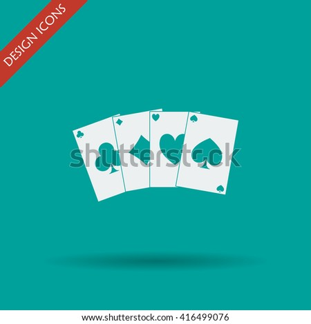 playing cards icon. Flat design style