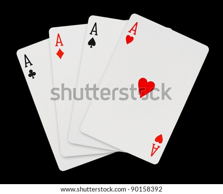 Playing cards - isolated on black background - stock photo