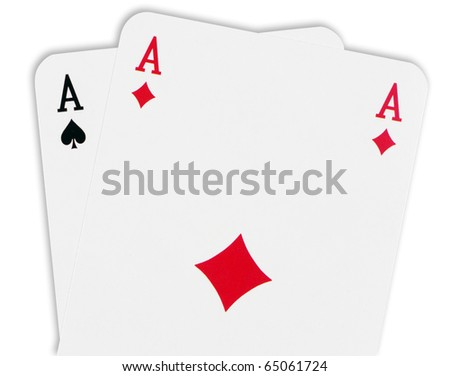 Playing cards,isolated on white - stock photo