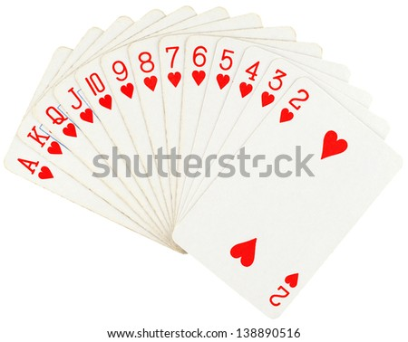 Playing cards isolated on white background - stock photo