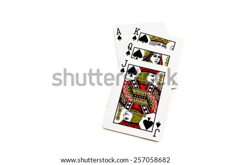 Playing cards - isolated on white background - stock photo