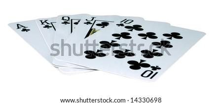 playing-cards on a white background are a risk - stock photo