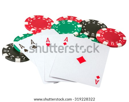 Playing cards with chips isolated on a white background