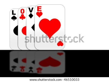 "Playing cards with ""love"" standing on a reflective surface"