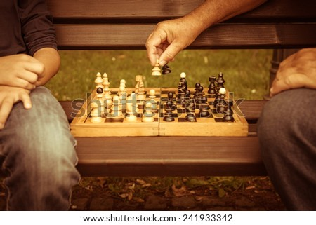 Playing chess in the park - stock photo