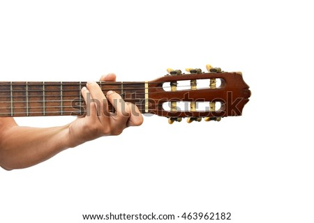 Playing Classical Guitar C Chord Isolated Stock Photo (Royalty Free ...