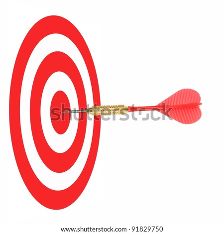 Playing darts isolated against a white background - stock photo