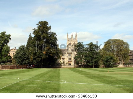 Playing field. Merton College, Oxford - stock photo