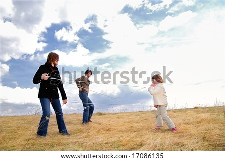 playing games in nature - stock photo